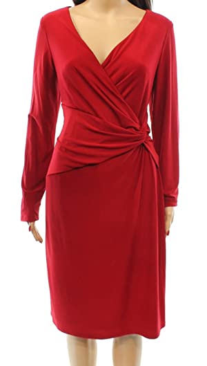 Lauren Ralph Lauren Women's Front Knot Sheath Dress Red 0