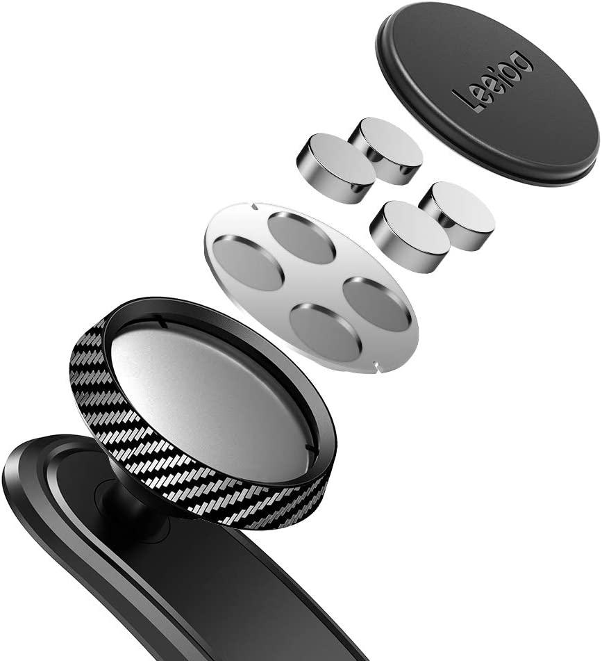 LEEIOO Universal Bendable Dashboard Magnetic Car Phone Holder with 3M VHB Sticky Adhesive and Spin Button