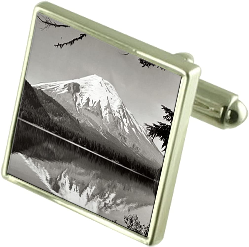 Select Gifts Mount Fuji Sterling Silver Cufflinks Optional Engraved Box