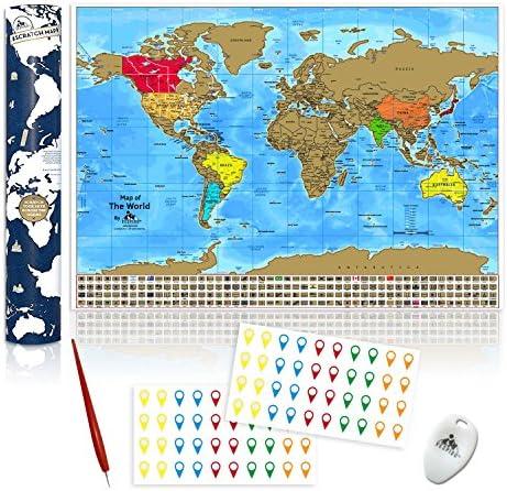 Mapamundi Para Rascar. Mapa del Mundo Rascable con Estados y ...