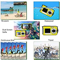 Dual Screen Waterproof Underwater Sports Action HD Mini Digital Video Recorder Camera,24MP 1080P Point and Shoot Digital Camcorder Camera-Yellow by Yasolote