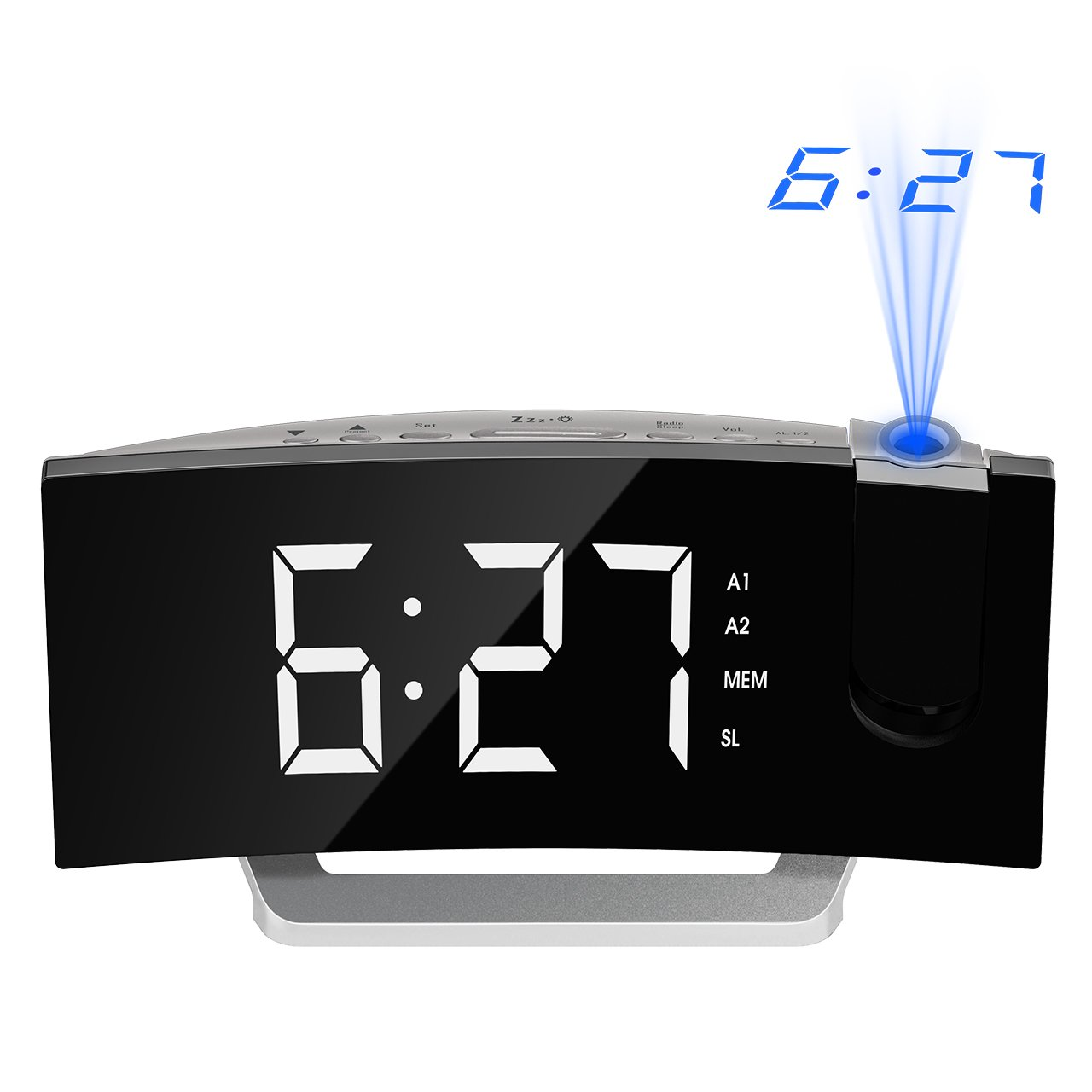 Mpow [GEN-3 Projection Alarm Clock, Curved-Screen Projection Clocks with 5'' Dimmer LED Display, Digital Clock for Bedroom, Dual Alarms with 30 Minute Ring Time, 12/24 Hour, Backup for Clock Setting