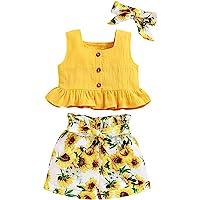 ANUFER 3 Piezas Niña Conjuntos de Ropa Brillante Amarillo Girasol Bebé Trajes Tops de Chaleco + Pantalones Cortos…