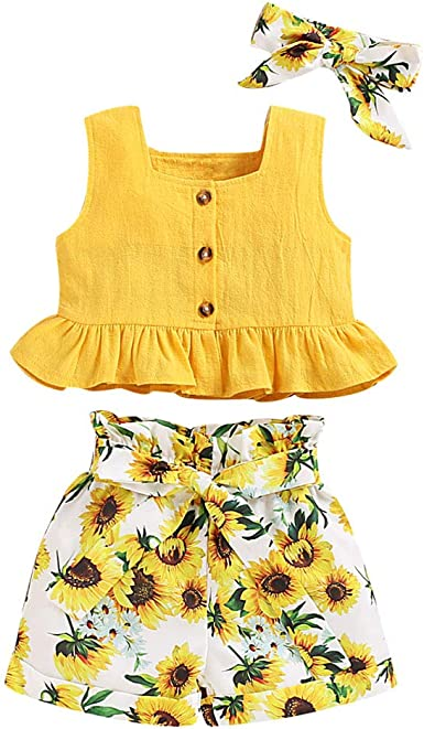 UK 3PCS Kids Baby Girl Outfits Clothes Vest Tops+Floral Shorts Pants Outfits Set