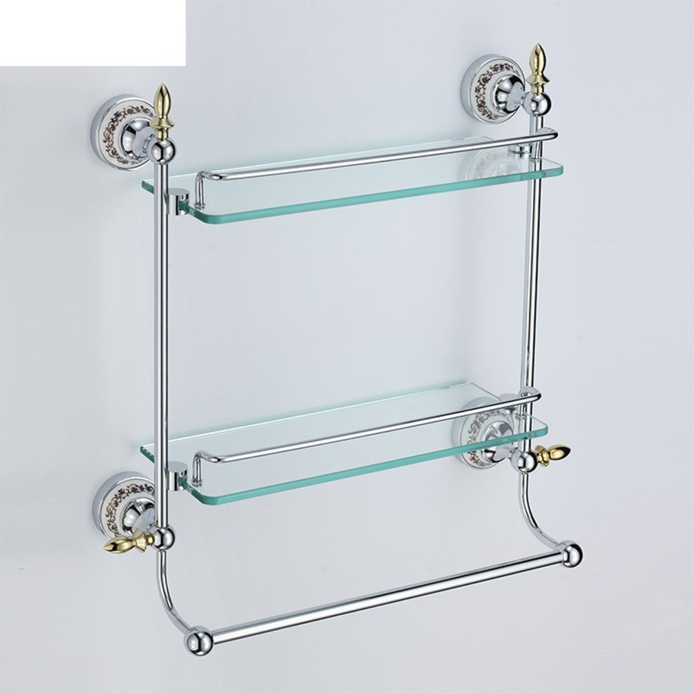 Double glass bathroom shelf/Racks on the wall/Wall hanging/shelf/Storage shelf /Towel Bar-C by JINTIANSDS