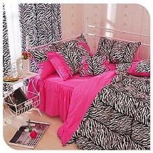 Ai&M Twin Zebra Leopard Duvet Cover Set Zebra Print Bedding Pink Black Bedding , Cal King