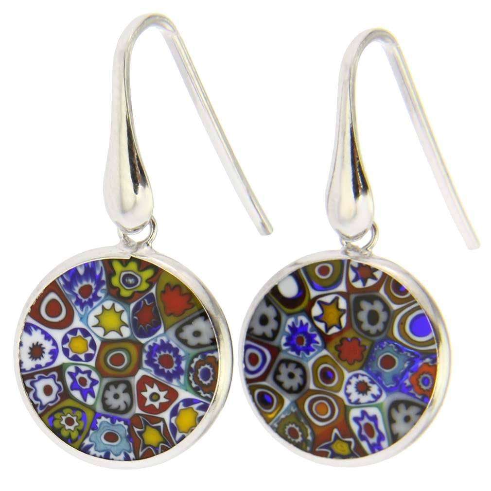 GlassOfVenice Murano Glass Millefiori Round Dangle Earrings Multicolor - Silver