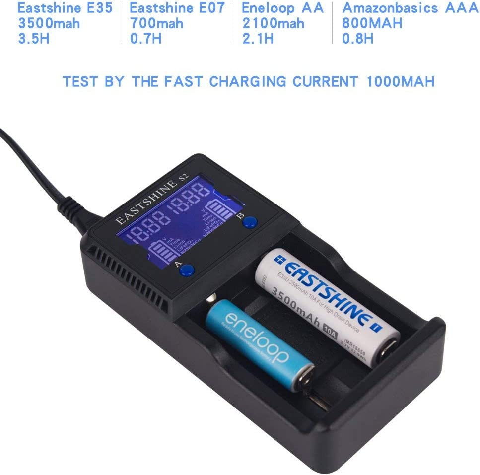 Universal Battery Charger EASTSHINE S2 LCD Display Speedy Smart Charger for Rechargeable Batteries Ni-MH Ni-Cd AA AAA Li-ion LiFePO4 IMR 10440 14500 16340 18650 RCR123 26650 18500 17670 & Car Adapter: Electronics