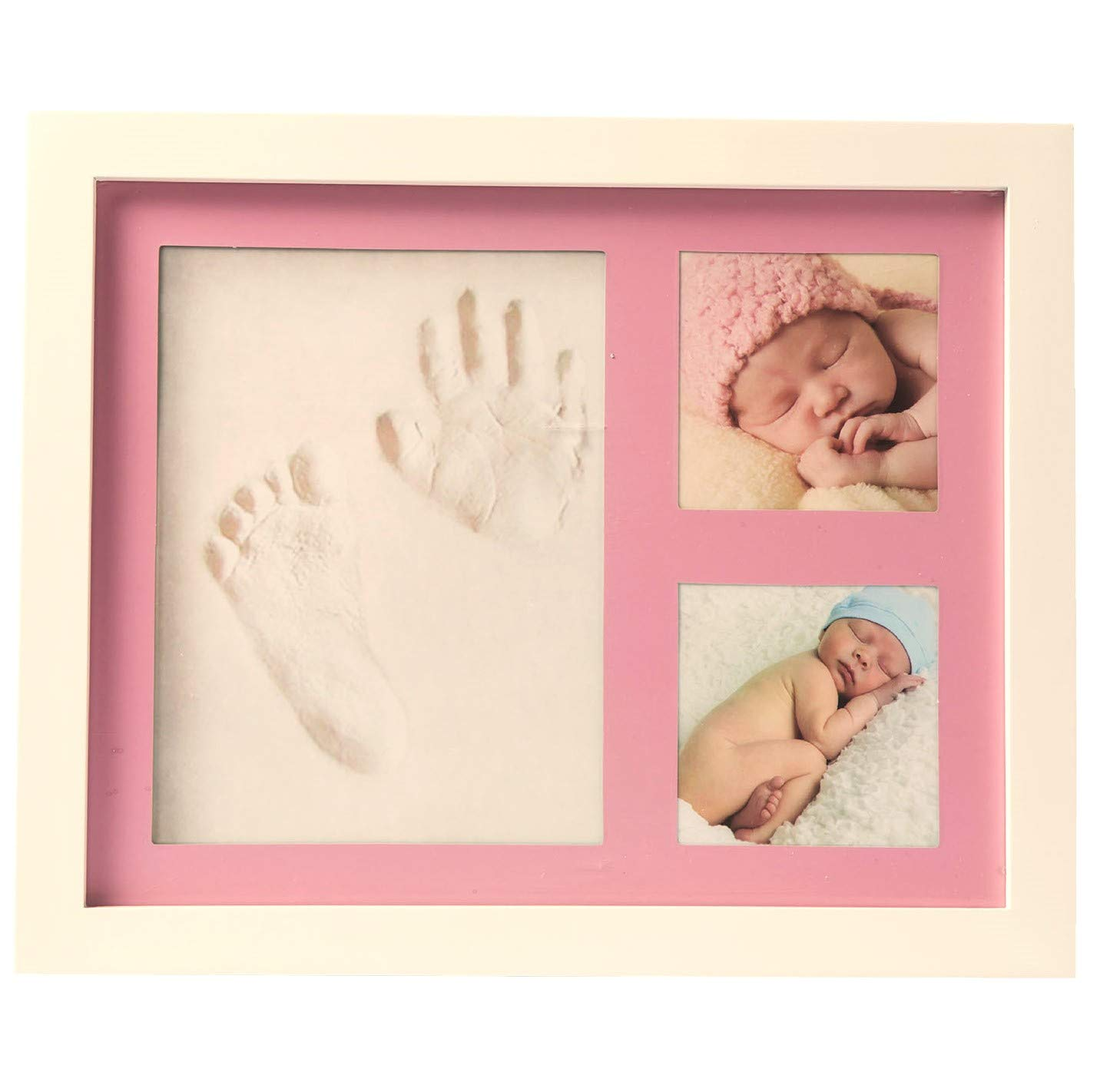 Premium Baby Handprint, Footprint & Picture Frame Kit - Registry for Baby Shower - Baby Gifts for Newborn Babies - Clay & 2 Photo Frames in White & Pink, Tiffany Blue & Gray - Baby Girl & Boy Gifts