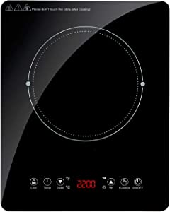 Portable Sensor Touch Induction Cooktop, Electric Induction Countertop Burner with LED Touch Screen, 9 Temperature Power Setting Induction Cooker Cooktop with Kids Safety Lock and Timer