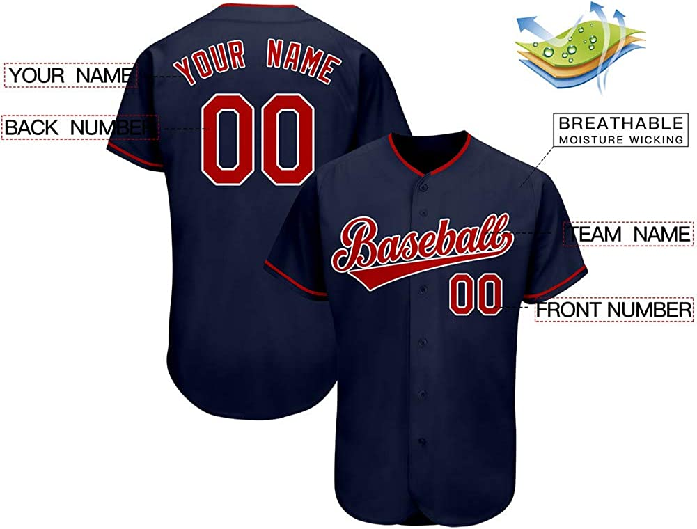 Custom Baseball Jersey Personalized Full Button Shirts Team Uniform Stitched Name/&Numbers for Adult//Youth