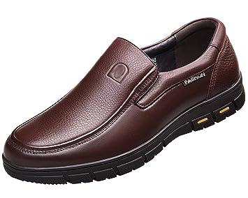 HhGold Zapatos de Vestir para Hombres Mocasines de Cuero Mocasines sin Cordones Mocasines con Parte Inferior Suave (Color : Marrón, tamaño : 37EU): ...