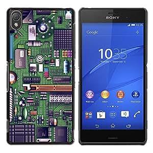 Be Good Phone Accessory // Dura Cáscara cubierta Protectora Caso Carcasa Funda de Protección para Sony Xperia Z3 D6603 / D6633 / D6643 / D6653 / D6616 // Computer Chip Art Code Techn