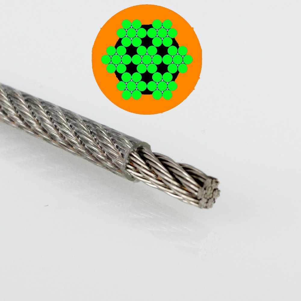 1  Metre, PVC Stainless Steel Wire Rope 7x7  Medium Soft  –   1,25/2  mm Clear A4 PVC Stainless Steel Wire Rope 7x7 Medium Soft - 1 25/2 mm Clear A4 dely trade