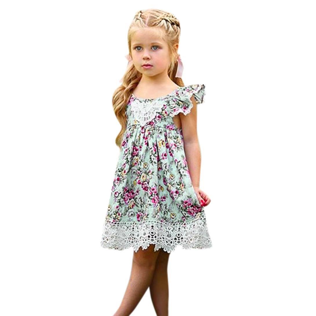 Sunward Little Girls' Dress Sleeveless Flower Lace, Summer Flower Beach Dress Floral Sundress (Green, 4T)
