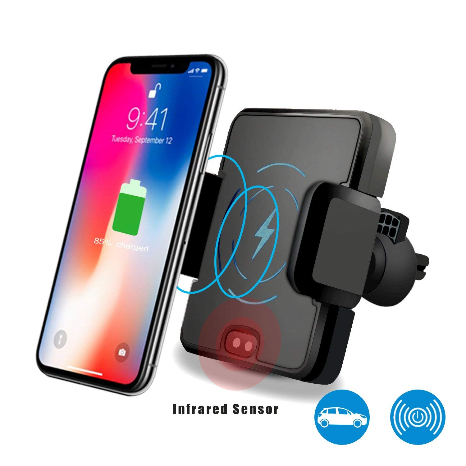 Wireless Car Charger Mount, Wireless Charger Car Holder, Automatic Infrared Sensor 2-in-1 Air Vent Bracket Phone Holder Gravity Car Mount Fast Charging MAXSHUANG