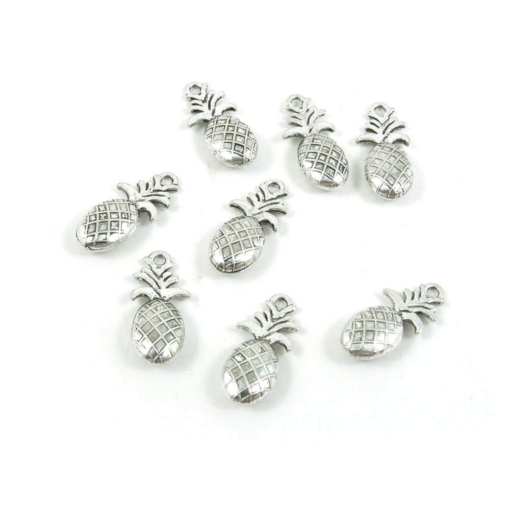 10 Pieces Antique Silver Tone Jewelry Making Charms Pendant Findings Craft Supplies Bulk Lots Arts T2UK2 Pineapple