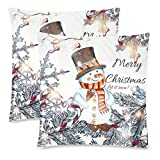 InterestPrint Custom 2 Pack Cute Winter Snowman Chtistmas Tree Throw Cushion Pillow Case Covers 18x18 Twin Sides, Let it Snow Cotton Zippered Pillow Pillowcase Sets Decorative