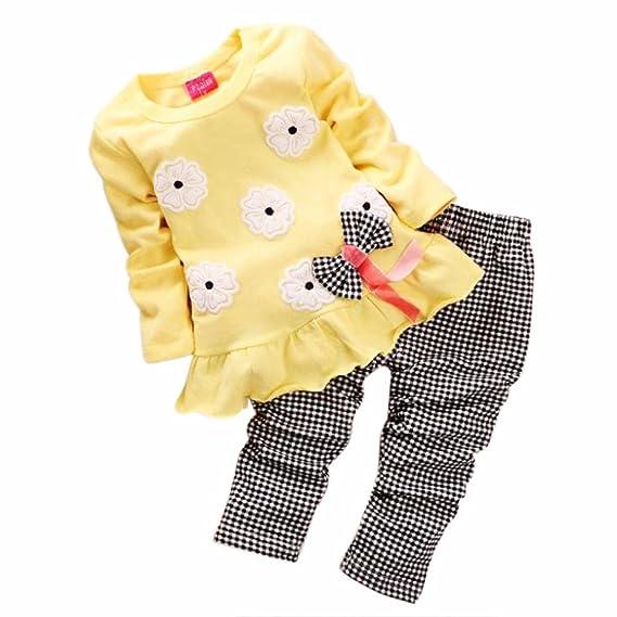 Dragon868 Conjuntos de Ropa, Bebé de Manga Larga de la Flor del Arco de la Camisa y la Tela Escocesa Pantalones Conjuntos de Ropa: Amazon.es: Ropa y ...