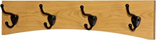 """product image for PegandRail Solid Cherry Arched Wall Mounted Coat Rack Bronze Hat & Coat Hooks - Made in The USA (Natural, 20"""" x 4.5"""" with 4 Hooks)"""