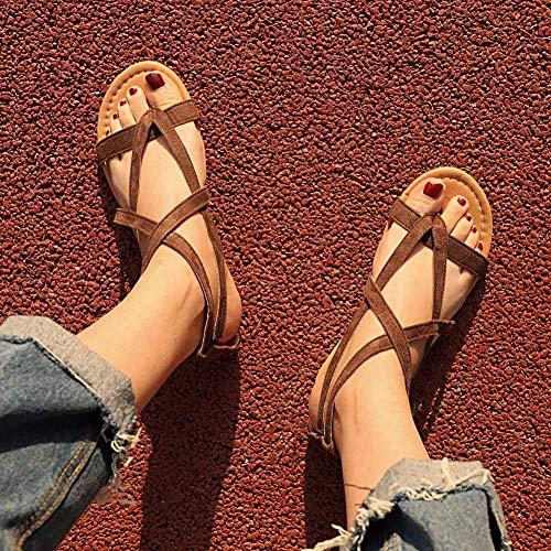 Jamron Romano Sandalias Strappy Tiras de Mujer con Plano Marrón Casual Hebilla Tobillo Franela Estilo de FqFtrwT