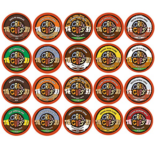 Crazy Cups Flavored Decaf Coffee Single Serve Cups For Keurig K Cup Brewer Variety Pack Sampler, 20 Count (Decaf Sampler)