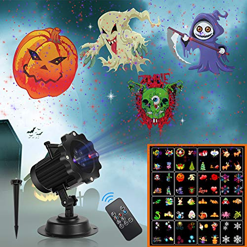 Dancing With The Stars 2019 Halloween (Christmas Projector Lights,UNIFUN 16 Patterns LED Projector Lights with red and Blue Star Lights Waterproof Landscape Light for Celebration Halloween,Christmas Birthday and Party)