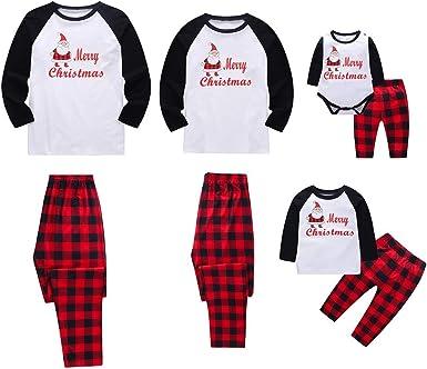 Miyanuby Pijamas de Navidad Familia Pijamas Navideñas Pijama Mujer/Pijama Hombre/Pijamas Bebe Niños Niña Manga Larga Trajes Navideños Ropa de ...