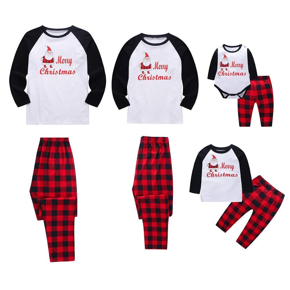 Urmagic Family Christmas Pajamas, 2PCs Santa Prints Tops Plaids Bottoms Pjs Set