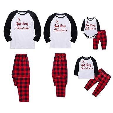 3abbeef603881 Miyanuby Ensembles de Pyjama Noel Famille Père Mère Garçon Fille du  Nouveau-né Bébé Pyjamas