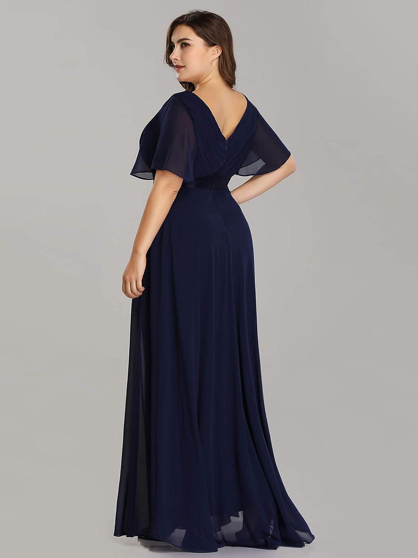Ever Pretty Damen Abendkleid A-Linie Lange Brautjungfernkleid V Ausschnitt Kurze /Ärmel Hohe Taille 09890-EU2