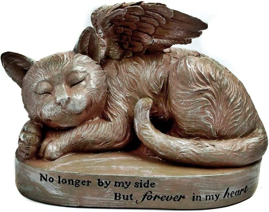 Bellaa 29684 Cat Angel Pet Memorial Grave Marker Tribute Statue 10 Inch Polyresin Stone Finish Sympathy