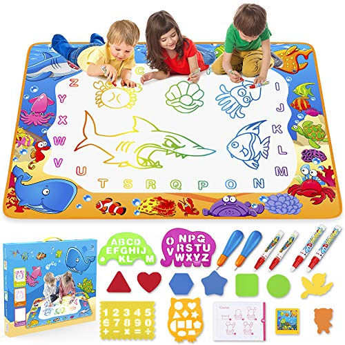 Water Doodle Mat – Kids Painting Writing Doodle Toy Mat – Color Doodle Drawing Mat Bring Magic Pens Educational Toys for…