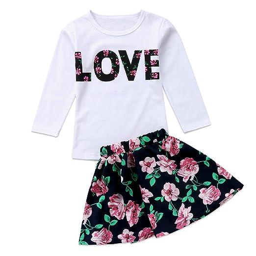 4891c8e7a Amazon.com  2Pcs Kids Toddler Baby Girl Love Long Sleeve T-shirt Top ...