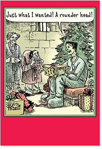 12 'Rounder Head' Boxed Christmas Cards with Envelopes 4.63 x 6.75 inch, Funny Frankenstein Christmas Notes, Hilarious Cartoon Christmas Cards, Unique Book Humor Christmas Stationery B1172