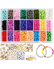 Clay Beads for Jewelry Making-Clay Beads Kit for Making Bracelets Necklace Anklets,DIY Craft Kit Gift for Kids&Adults