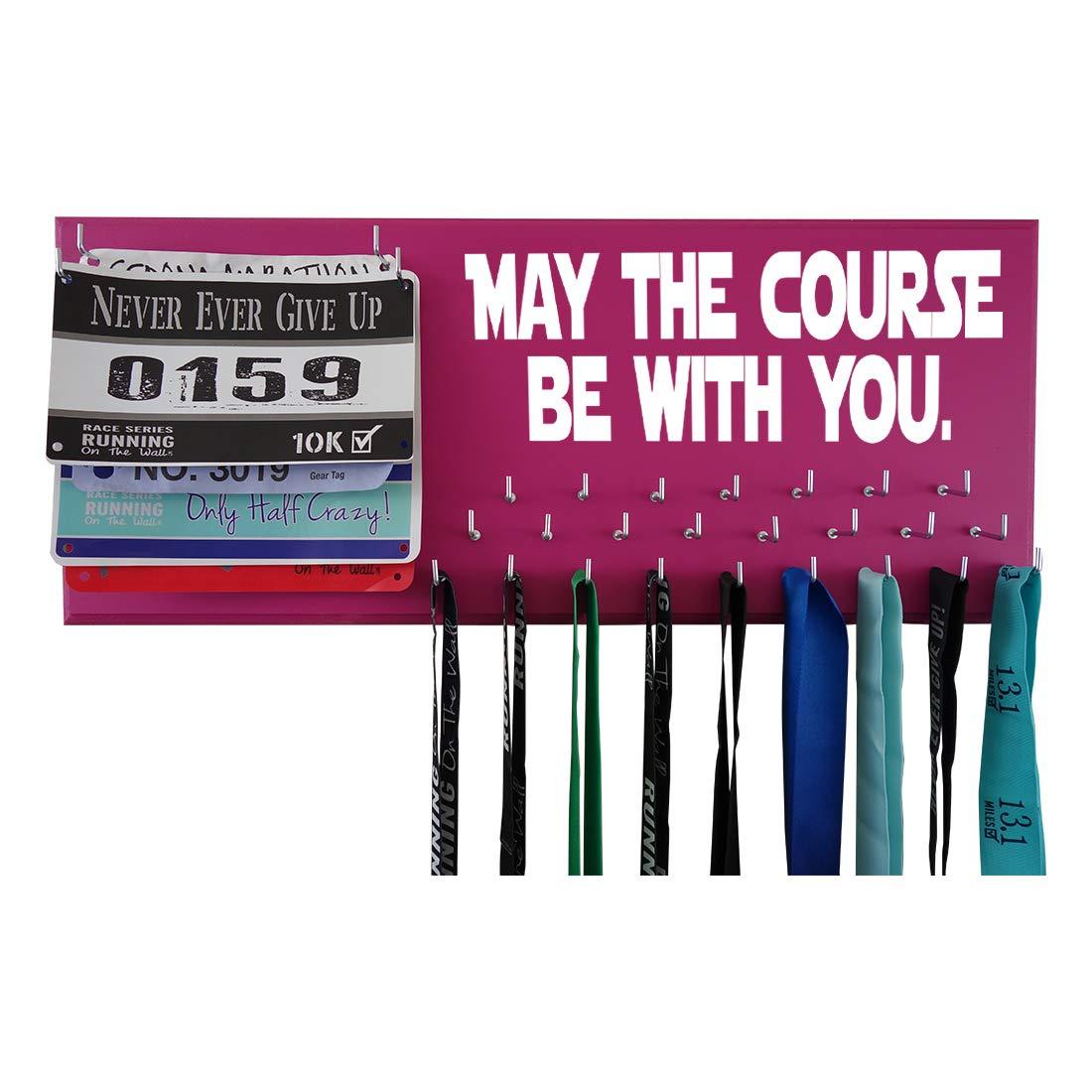 Running on the Wall – Race Bib and Medal表示rack-壁マウントスポーツメダルホルダーとハンガー5、K 10 K、マラソンランナー – May The Course Be With You B01N3Q1C61 ホットピンク