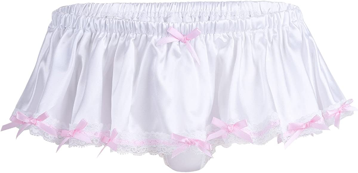 CHICTRY Mens Sissy Pouch Satin Lace Briefs Thong Underwear with Pink Bowknots