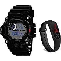 SELLORIA LED Digital Black Dial Silicone Bracelet Boys Kids Watch Combo Pack of 2 Watches for Boys