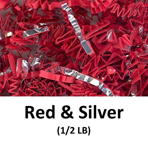 Crinkle Cut Paper Shred Filler (1/2 LB) for Gift Wrapping & Basket Filling - Red & Silver | MagicWater Supply