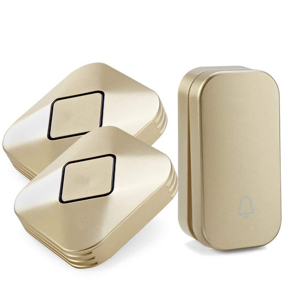 Color : Gold B Timbres Para Puerta Timbre inal/ámbrico resistente al agua El kit de timbre inal/ámbrico autoalimentado puede operar 600 metros y 58 tipos de melod/ía