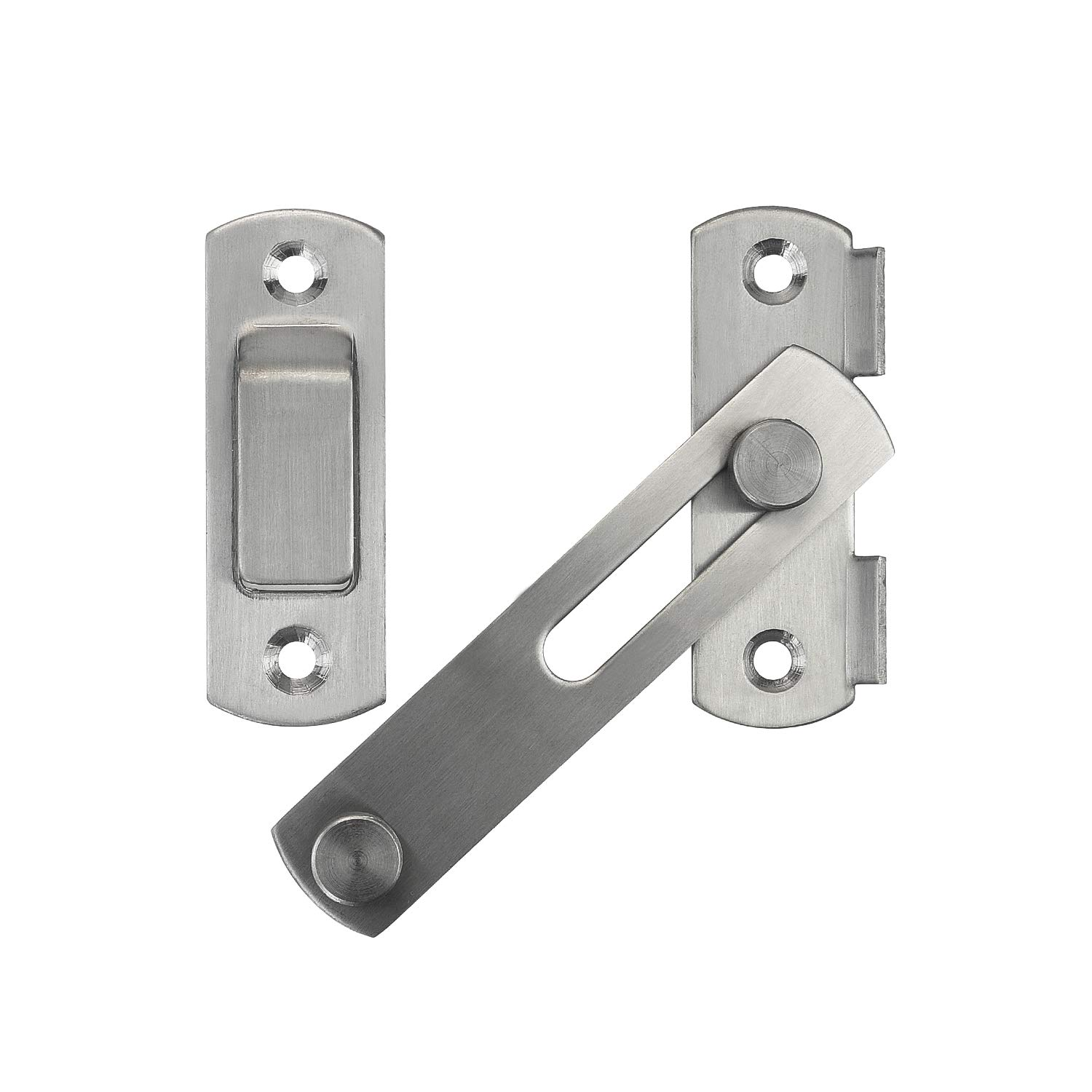 2 Pack Favordrory Stainless Steel Flip Latch Gate Latches Bar Latch Safety Door Lock for Pet Gate,Cabinet Furniture Window,Brushed Finish