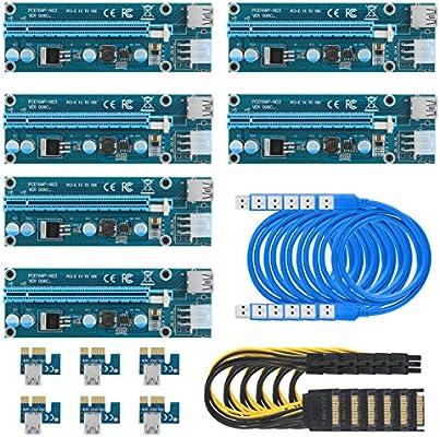 6-Pack of VER 006c PCIe PCI-E Express 1X to 16X 60cm USB Riser Adapter w// SATA
