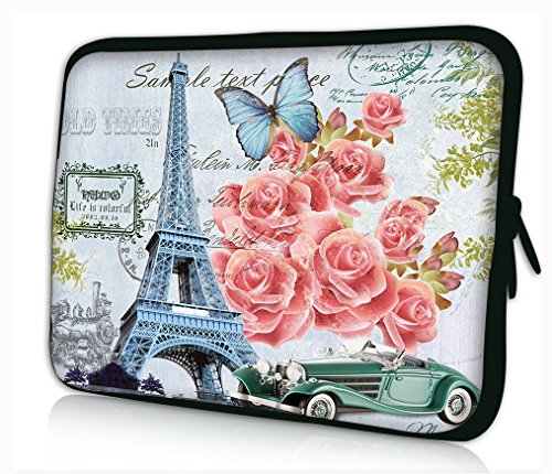 """iColor Universal Eiffel Tower & Pink Roses 11.6"""" 12"""" 12.1..."""