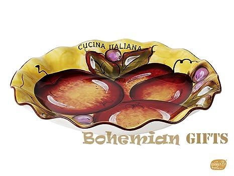 Amazon Com Classic Cucina Italiana Large Ceramic Scalloped Round