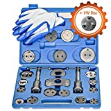 [24 Piece] Heavy Duty Disc Brake Caliper Tool Set and Wind Back Kit for Brake Pad Replacement | Fits Most American, European, Japanese Makes/Models