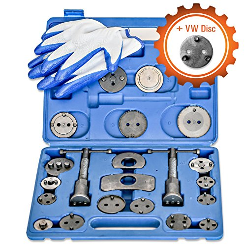(Grit Performance [24 Piece] Heavy Duty Disc Brake Caliper Tool Set and Wind Back Kit for Brake Pad Replacement | Fits Most American, European, Japanese Makes/Models)