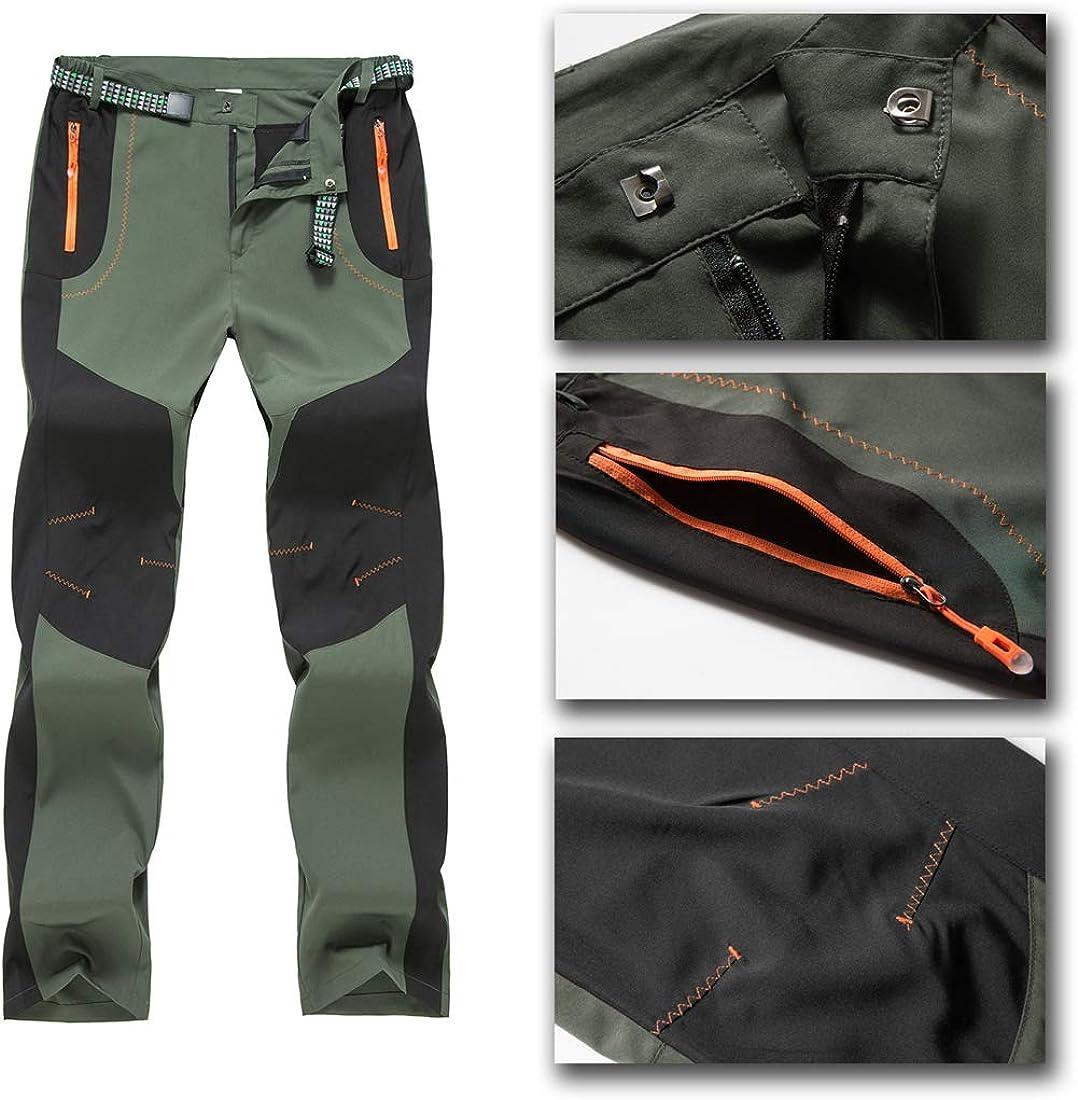 BGOWATU Mens Outdoor Hiking Pants Lightweight Quick Dry Mountain Running Active Jogger Pants Zipper Pockets
