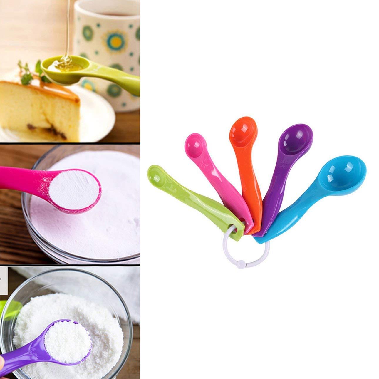 Pudincoco 5 Pcs//Set Cuisine en Plastique Color/é Tasses /À Mesurer Poign/ée Ergonomique G/âteau Au Sucre Cuisson Cuill/ère Cuill/ère M/énage /À Mesurer Scoop