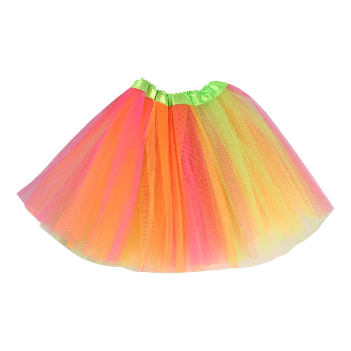 VORCOOL Bébé Filles Tutu Rainbow Impression Jupes Gaze Fluffy Pettiskirts Filles Princesse Danse Robe De Soirée Tulle Jupes (pour 100cm-140cm Enfants Fluorescent Vert